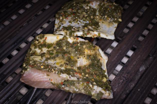 """Ребра рыбы Паку в маринаде """"Зеленый аромат"""""""