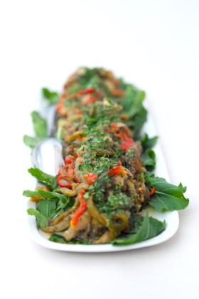Рецепт Печеные баклажаны и перцы
