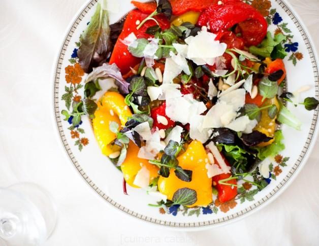 Салат из запеченных маринованых перцев